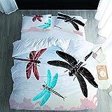 Juego de funda de edredón de 3 piezas, diseño de libélula, microfibra suave, para dormitorio, habitación de invitados, habitación de los niños
