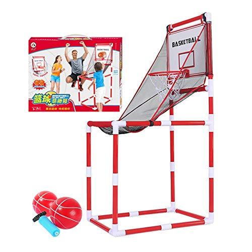 LUYJKL Juego de tiro de baloncesto para niños pequeños y bebés, 2 niveles de altura ajustable, 1 – 2 jugadores, fácil de llevar S (color con 2 bolas)