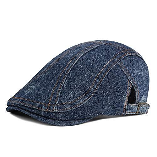 Sombrero para Hombre Primavera Y Verano Moda Casual Vaquero Boina Perforada Gorra De Pato Coreana Sombrero Retro para Mujer 56-59Cm Slash-Darkblue