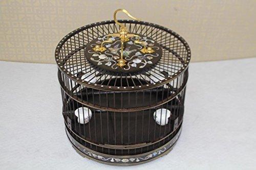 Pet Online Palisandro de mosaico de madera en forma de jaula, viendo en una jaula de perico ,29.5*22cm, negro