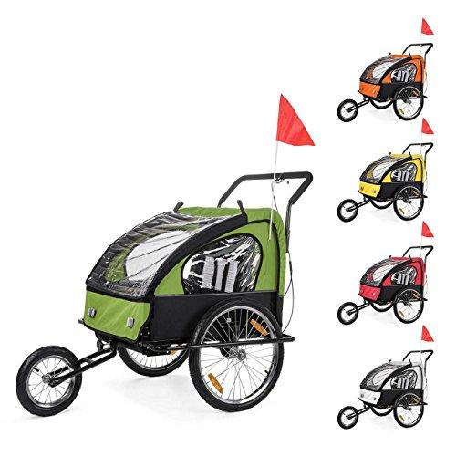 SAMAX Remorque Vélo convertible Jogger 2en1 Pour 2 Enfants Amortisseur Transport Poussette en Vert/Noir - Black Frame
