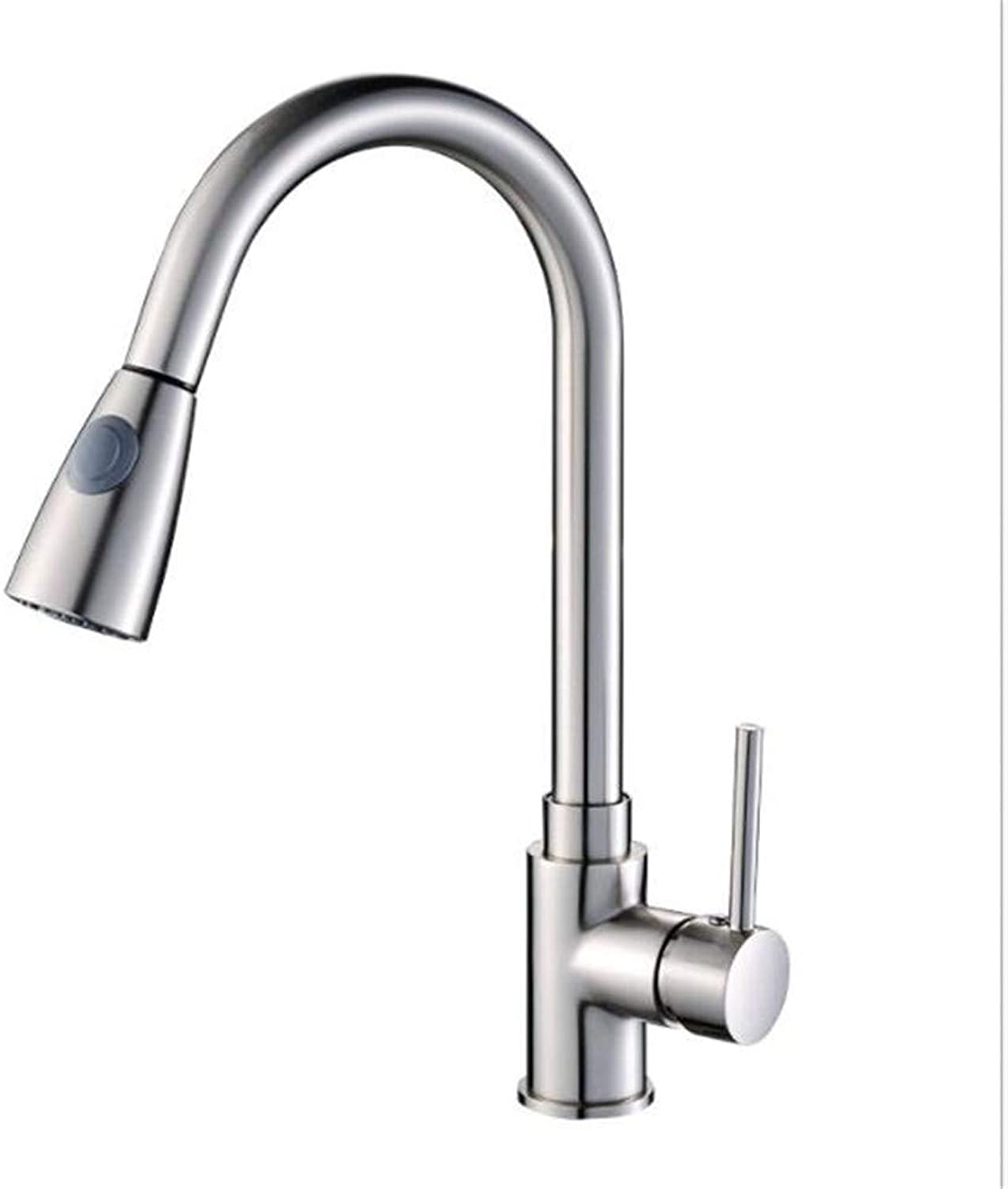 Bathroom Sink Basin Lever Mixer Tap Kitchen Faucet Wire Drawing Faucet Cold and Hot Water Faucet Sink Pulling Faucet