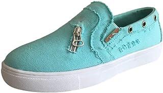 95sCloud Zapatillas deportivas para mujer, de lona, cómodas, con parte superior baja, antideslizantes, planas, para verano...