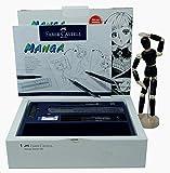 Faber-Castell 167136 - Pack Manga Starter Set, estuche de iniciación, incluye instrucciones, set de rotuladores y lápices de dibujo y maniquí