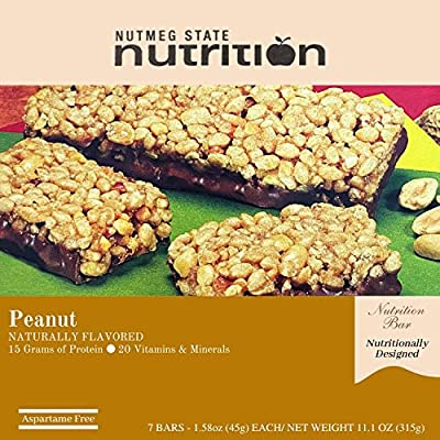Nutmeg State Nutrition High Protein Snack and Meal Replacement Bar / Diet Bars - Crisp N Crunch Peanut (7ct) - Trans Fat Free, Aspartame Free, Kosher, High Fiber