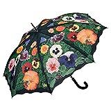 VON LILIENFELD Paraguas de Iluvia Flor Pensamientos Largo Clásico Automático Grande Estable Mujer