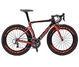 SAVADECK Bicicleta de carreras Phantom3.0 de fibra de carbono 700 C, bicicleta de carretera de fibra de carbono, con Shimano Ultegra R8000 de 22 velocidades, grupo de cambio Continental y sillín Fizik