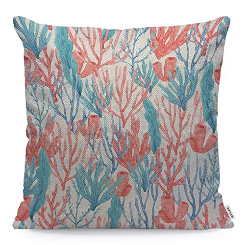 N\A Corales y Algas Marinas Funda de Almohada océano botánico Rosa Turquesa Estilo Moderno de Moda Funda de Almohada cojín Cuadrado Lino de algodón para Mujeres Hombres