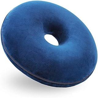 Cojín de 745 asiento redondo para hemorroides con agujeros de rebote lento de espuma de memoria Donut, adecuado para silla de oficina silla de ruedas asiento reclinable de coche (azul marino)