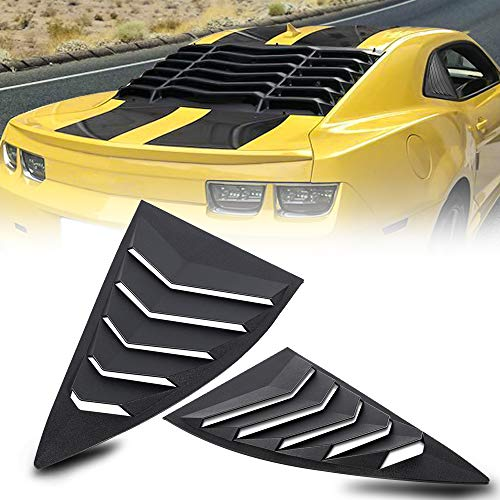 CUMART Side Window Louvers Windshield Sun Shade Cover Lambo Style Matte Black Compatible with Chevrolet Chevy Camaro 2010 2011 2012 2013 2014 2015 Left Right 2PCS