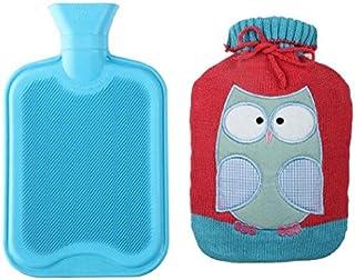 بطری آب داغ با کیفیت Premium / کریستال بافتنی زیبا (2 لیتر، آبی / قرمز با جغد)