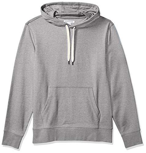 Amazon Essentials Men's Lightweight French Terry Hooded Sweatshirt, Grey, Medium