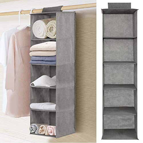 YORKING Hanging Storage 5-Shelf Organiser, Hanging Wardrobe Closet Tidy Drawer Shelves Clothes Storage Organizer 27 cm L x 27 cm W x 100 cm H, Gray