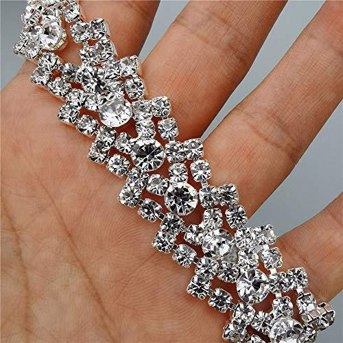 31cm Rhinestone Crystal Chain 2cm Wide Bling Diamante Trim Ribbon Gem Sparkle Wedding Bridal Dress Necklace Prom Evening Diamond Applique Show Accessories Sash Belt Headwear Craft Cake Clothes Lace