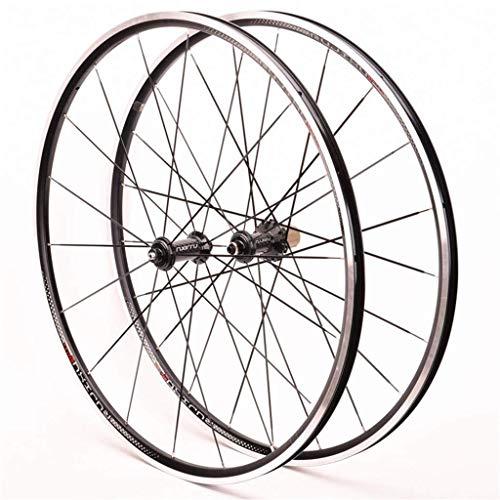 TYXTYX Rueda Delantera y Trasera de Bicicleta 700C Juego de Ruedas de Bicicleta de Carretera Aleación Ultraligera Borde de Doble Pared Rodamiento Sellado Buje de Fibra de Carbono Freno C/V para v