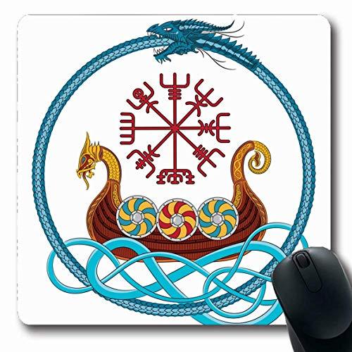 Jamron Mousepad OblongEurope Blauer Drachenschaum Viking Drakkar Schiff segelt auf Vintage Red Island Mittelalterliches Boot Farbige rutschfeste Gummi Mauspad Büro Computer Computer Laptop Mat