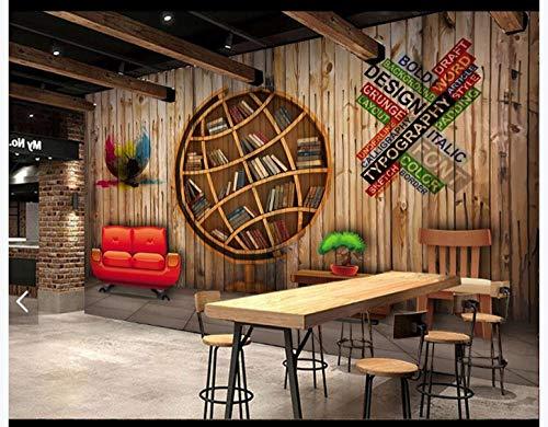 Apoart 3D Wallpaper Originele 3D Stereoscopische Globe Boekenplank Hout Muur Gereedschap Muur 400cmx280cm