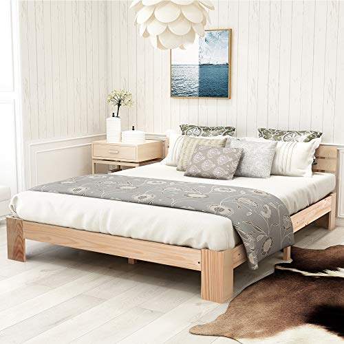 Lazyspace Cama doble de madera con cabecero, somier de listones - 200 x 140 cm madera de pino macizo, incluye respaldo (natural)