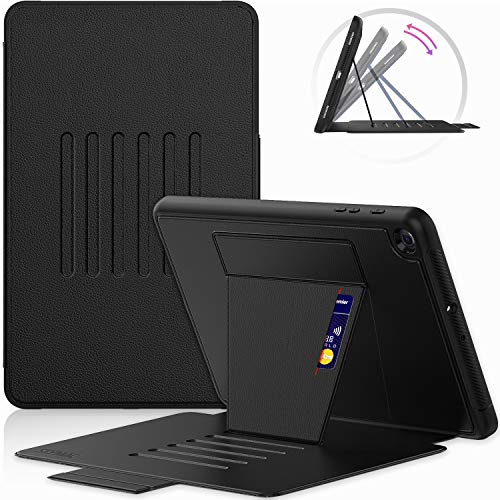 SEYMAC Slim, Shockproof, Full Body Protective Case for Samsung Galaxy Tab A 10.1 2019 Model (SM T510/ T515) with 6 Angles Robust Magnetic Stand, Card Slot - Black