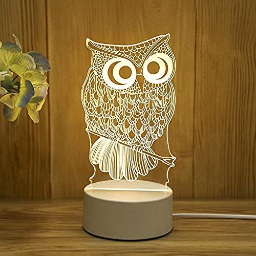 wangzj Luces de noche Lámpara de noche Luces de habitación Lámpara de regalo-búho Lámpara de mesilla Lámpara de mesa 3D Regalo Regalo de cumpleaños para niño