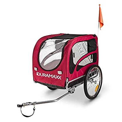 Duramaxx King Rex Dog Trailer - 250 Litre Cargo Space, Up to 40 kg, Powder Coated Steel Tube, Stable, Ideal for Small to Medium Sized Dogs, Folds up for Compact Storage, Black/Red 5