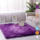SODKK Carpet Lila Schaffell Bettvorleger 160x160cm, Trendig Strapazierfähig für Wohnzimmer, Schlafzimmmer, Kinderzimmer, Esszimme