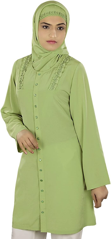 MyBatua Women's Muslim Clothing Front Open Tunic in Parrede Green