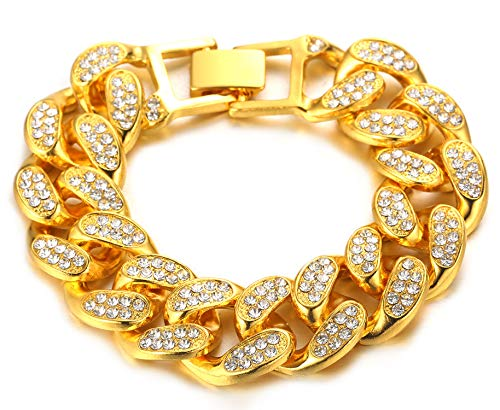 HALUKAKAH Cadena Cubana Hombres Iced out,20MM Hombres Cadena de Oro Miami Chapado en Oro Real de 18k Pulsera 22cm,Cz Completo Diamante Prong Set,Regalo para él