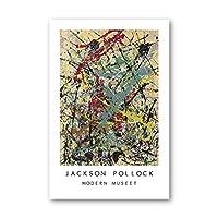 Jackson Pollock抽象線アートパネル絵画インテリアファインアートパネルポスターギャラリー写真シンボルキャンバスプリントforリビング部屋壁装飾40x60cmいいえフレーム
