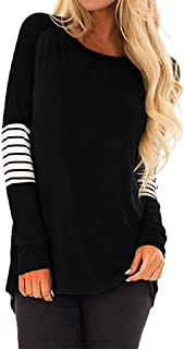 Plus Size Stripe Casual Color Block T-Shirt Loose Long Sleeve Top Blouse Women