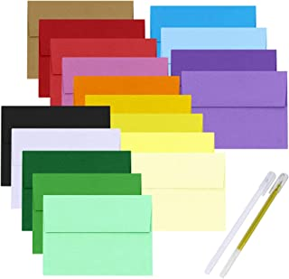 Supla 90 Pcs 18 Color A7 Envelopes Invitation Envelopes Business Envelopes Blank Envelopes Square Flap Envelopes 5-1/4 X 7 1/4 for Wedding Birthday 5 x 7 Photo Note Message Card Making Supplies