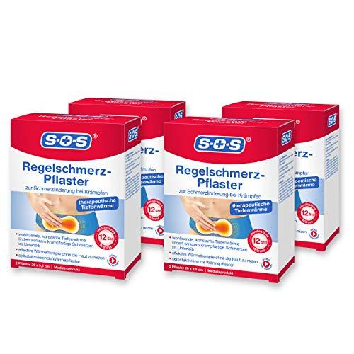 SOS Regelschmerz-Pflaster, angenehme Wärme zur Schmerzlinderung bei Krämpfen, wohltuende und konstante Tiefenwärme bei Schmerzen während der Menstruation, je 20 x 9,5 cm, 4 x 2 Pflaster