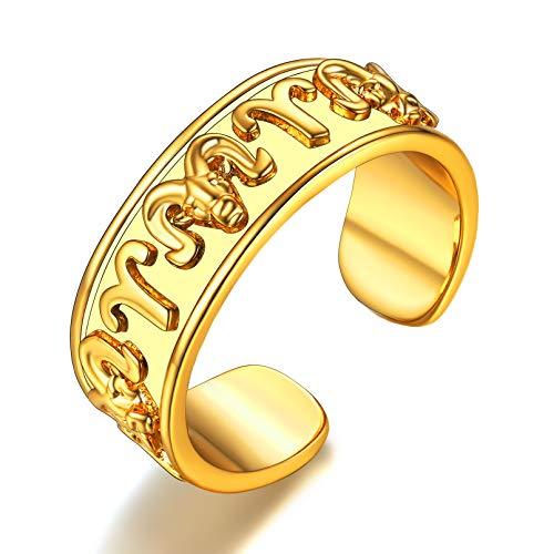 FaithHeart Aries Anillo Ajustable Latón Oro Amarillo 18K Signo Horóscopo Joyería Moderna para Hombres y Mujeres Regalo Cumpleaños