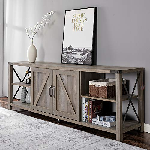 """Amerlife 68"""" TV Stand Wood Metal TV Console Industrial Entertainment Center Farmhouse with Storage Cabinets and Shelves for TVs Up to 78"""", Rustic Brown"""