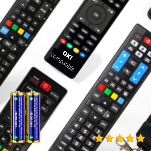 Oki - Mando A Distancia TELEVISIÓN Oki + Pilas - Mando TELEVISOR Oki Mando A Distancia para Oki TV - Compatible Todas Las Funciones Oki