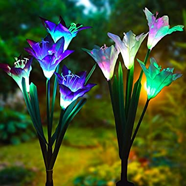 Doingart Outdoor Solar Garden Stake Lights 2 Pack Solar Powered Lights 8 Lily Flower, Multi-Color Changing LED Solar Decorative Lights Garden, Patio, Backyard (Purple White)
