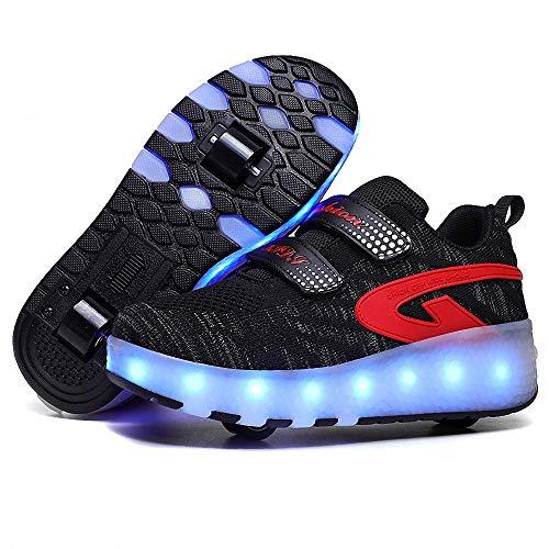 CBA BING Kinder Roller Skate Schuhe LED Beleuchtung Doppelrollen Schuhe LED Roller Skate Schuhe mit Doppelrollen Inline, Schwarz , 37