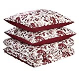Amazon Basics - Juego de fundas de edredón y almohada de microfibra premium (240 x 220 cm / 80 x 80 cm), rojo rumba acuarela