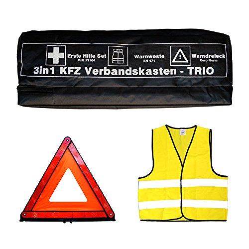 Tuningmods 3in1 KFZ Verbandskasten Kombitasche - Trio mit Warnweste, Erste Hilfe Set und Warndreieck