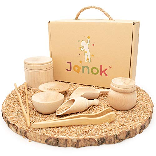 JANOK Sensory Bin Tools, Montessori Toys for Toddlers, Sensory Toys, Set of 8 Waldorf Toys, Wooden Scoops and Wooden Tongs for Transfer Work and Fine Motor Learning, Fine Motor Skills Development