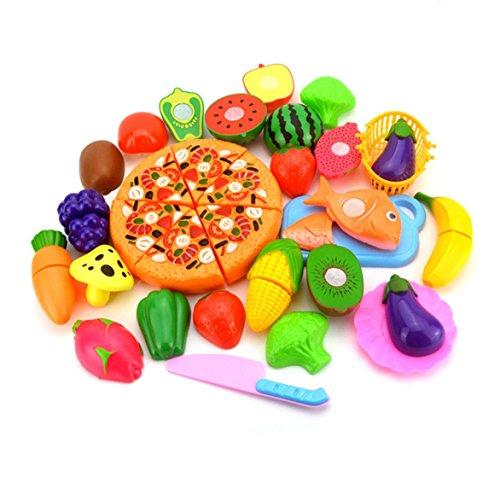 Dosige 24 PCS Jeu D'imitation Jouets de Fruits Légumes Enfants Jouet Educatif Jouets de Cuisine Ensemble