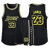 YCJL Camiseta De Baloncesto para Niños NBA Lakers # 23 Lebron James Jerseys Adultos Niños Unisex Competición Uniforme Deportivo, Conjunto De Ropa Ropa Deportiva,A,XS:145~149cm