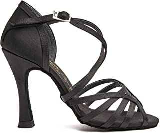 Manuel Reina - Zapatos de Baile Latino Mujer Salsa Flex 8 negro - Bailar Bachata, kizomba - Daniel y Desirée