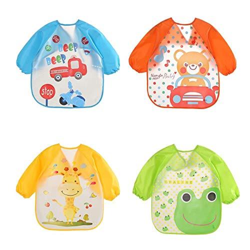 babero bebe,cosas bebes,cojín antivuelco bebe,bibs,bandanas bebe,4pcs babero de manga larga impermeable unisex delantal de los baberos de alimentación para el niño pequeño de 6 meses a 3 años