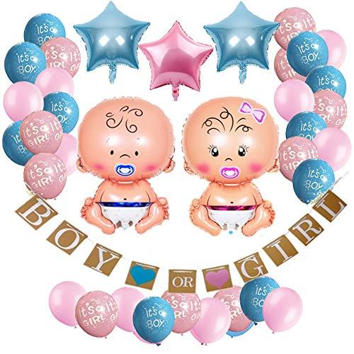 36-teiliges Baby Shower Deko Set,Gender Reveal Party Dekoration,Baby Shower Party Boy or Girl Set Babyparty Geschlecht Offenbaren Baby Deko Mädchen oder Junge Banner, Folienballon, Latexballon