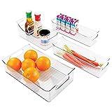 mDesign Rangement frigo pour la Cuisine (Lot de 4) – bac de Rangement Pratique pour Le réfrigérateur – Rangement épices en Plastique maniable – Transparent