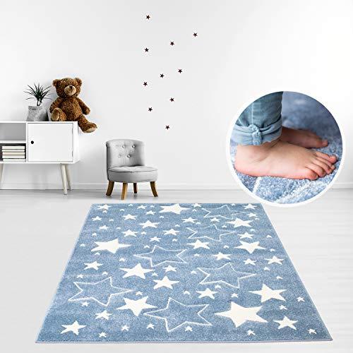 MyShop24h - Alfombra infantil, diseño de estrellas y cielo estrellado, colores pastel Öko-Test 100, 100% Polipropileno, azul, 80 x 150 cm