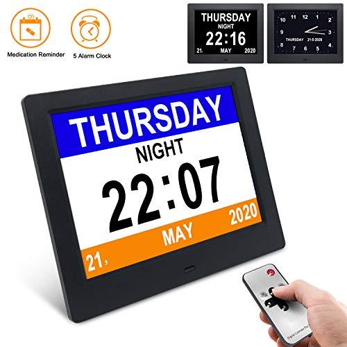 """YENOCK Demenz-Uhr, 8""""Tagesuhr Klarer, großer, Nicht abgekürzter Tag- und Monats-Wanduhr-Tisch- / Regaluhr mit digitalem Wecker-Kalender"""