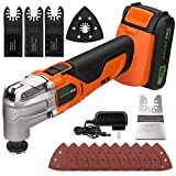 GALAX PRO Oscillating Tool, 20V Lithium Ion Cordless Oscillating Multi Tool with 1.3Ah Battery and Charger, 3pcs Blade and 10pcs Sanding Papers for Sanding, Grinding(Orange)…