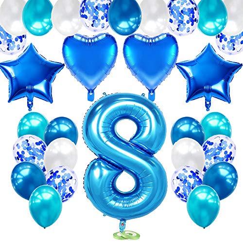 TOPHOPE Luftballon 8. Geburtstag Blau Happy Birthday Folienballon Luftballon Zahlen Geburtstagsdeko Jungen 8 Jahr Riesen Folienballon Zahl 8 Ballon 8 Deko zum Geburtstag Blau